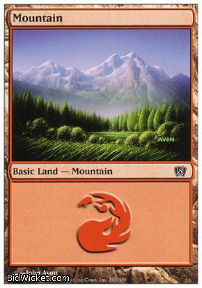 Mountain (343), 8th Edition, Magic the Gathering