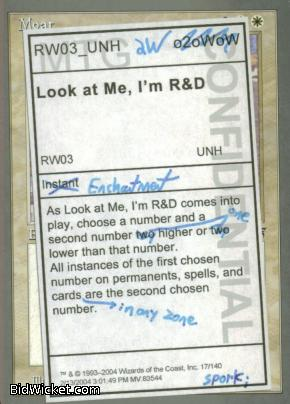 Look at Me, I'm R&D, Unhinged, Magic the Gathering
