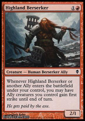 Highland Berserker, Zendikar, Magic the Gathering