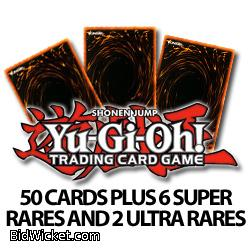 50 Assorted Yugioh Cards plus 6 Super Rares and 2 Ultra Rares